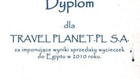 Dyplom za imponujące wyniki sprzedaży wycieczek do Egiptu w roku 2010