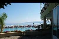 Hotel Eri Beach - z prawej okna ze stolówki, na przeciwko basen z widokiem na morze