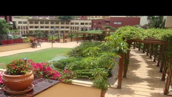 Lącznik miedzy budynkami - piekna zielen