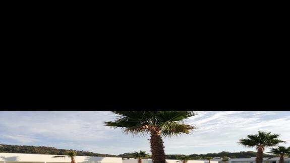 spojrzenie z balkonu na basen