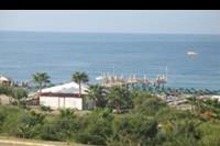 Hotel Dinler - widok z naszego balkonu na morze i prywatną plaze hotelu