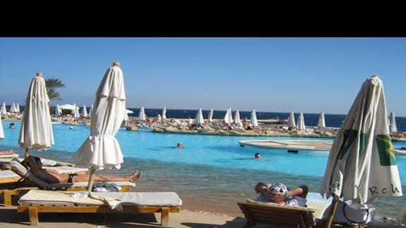 Basen przy plazy w Hotelu Rehana Royal
