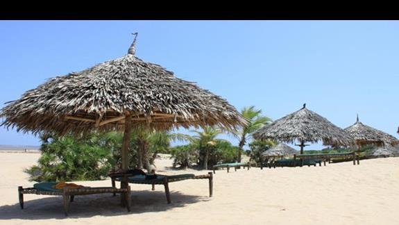leżaki hotelowe na plaży