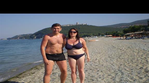my na przyhotelowej plaży w Paralia Panteleimonas:)
