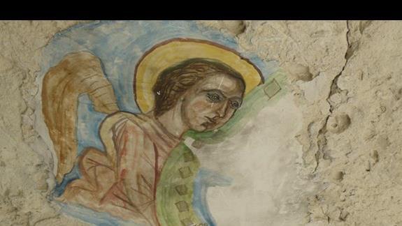 malowidło na ścianie skalnej w klasztorze