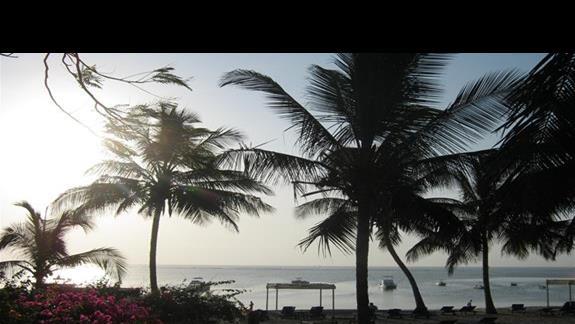 widok na hotelową plażę o świcie