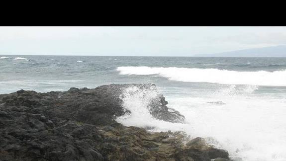 Białe grzywy fal na skałach.