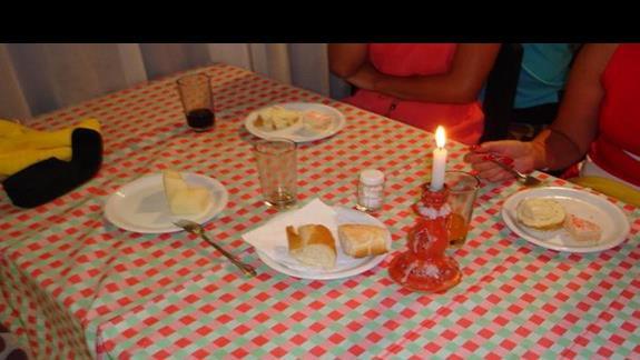 Wloska restauracja - deser = ciasto lub owoc :)