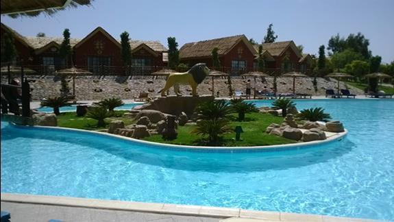 Domki i fragment basenu w hotelu Jungle Aqua Park