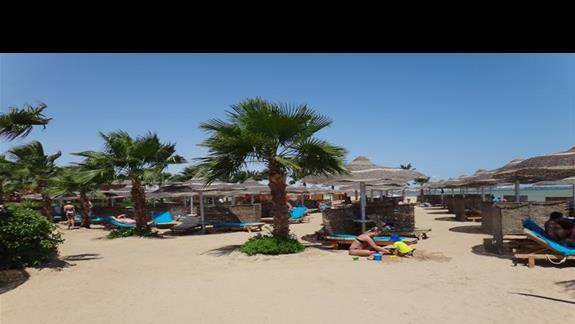 Plaza z palmami przy hotelu Amwaj Blue Beach Abu Soma Resort & SPA