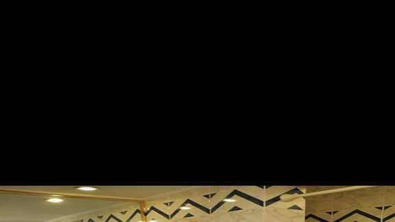 łazienka w p.standardowym w  hotelu Desert Rose