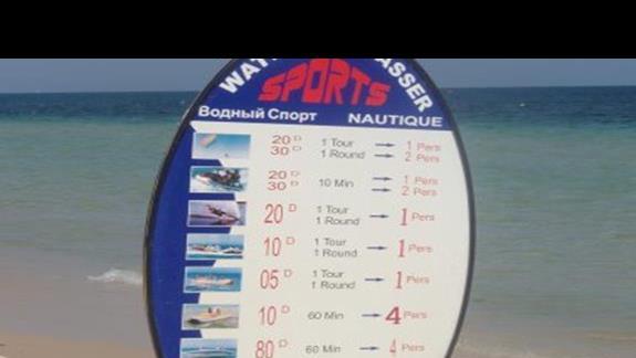 Ceny sportów wodnych na plazy