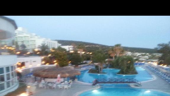 widok z tarasu z kawiarni na basen