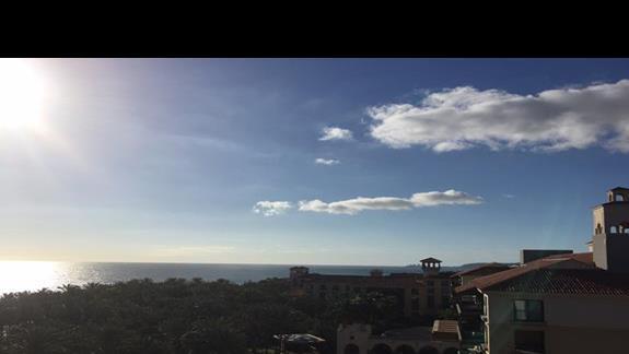 Widok z hotelu na ogród i ocean