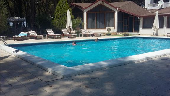 basen głęboki, restauracja hotelowa w tle