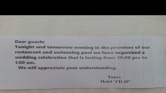 Informacja z hotelu w dniu pierwszego wesela...
